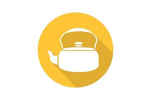 Classic kettle flat design long shadow glyph icon
