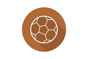 Soccer ball flat linear long shadow icon