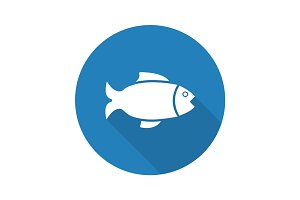 Fish flat design long shadow glyph icon