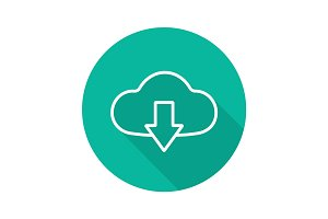 Cloud storage files download. Flat linear long shadow icon