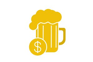 Buy beer glyph color icon