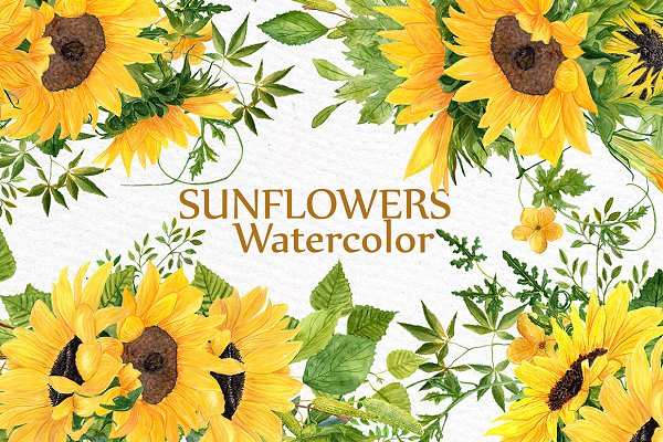 Sunflower clipart Watercolor Wreath