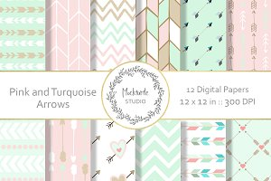 Mint and Blush Arrows Digital Paper