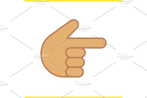 Point Right Hand Gesture Color Icon