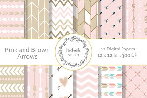 Pink and Brown Arrows Digital Paper