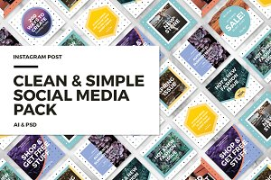 Clean & Simple Social Media Pack 6$