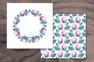 Wreath and pattern. Watercolor