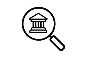 Bank search linear icon