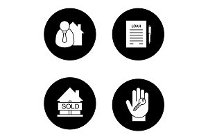 Real estate glyph icons set