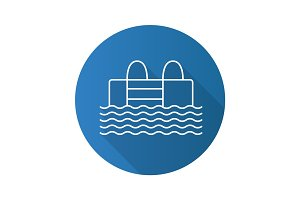 Swimming pool flat linear long shadow icon