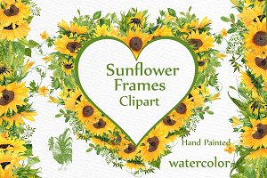 Sunflower Watercolor Frames clipart