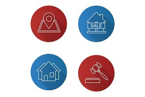 Real estate flat linear long shadow icons set