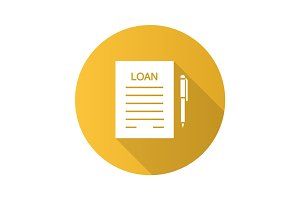 Loan agreement flat design long shadow glyph icon