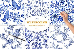 6 hand-drawn blue watercolor pattern