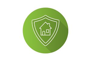 Real estate security flat linear long shadow icon