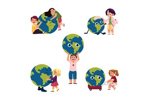 Kids hugging, holding, playing with Globe, Earth