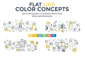 Set of Flat Line Color Concepts