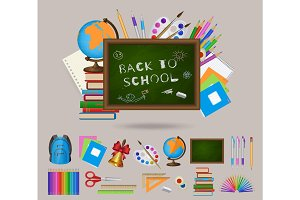 Set of student items, blackboard, back to school