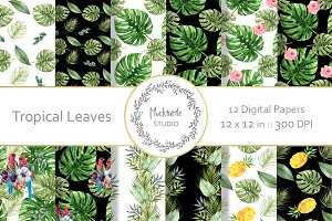Tropical Leaves digital paper
