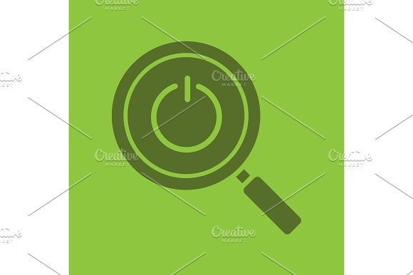 Magnifying Glass With Turn Off Button Glyph Color Icon