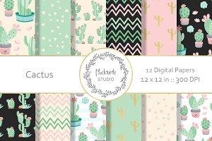 Cactus digital paper pattern