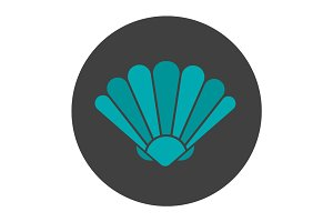 Seashell glyph color icon