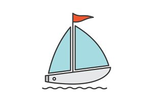 Sailboat color icon