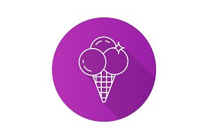 Ice cream flat linear long shadow icon