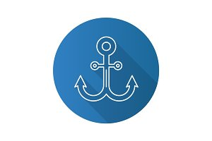 Anchor flat linear long shadow icon