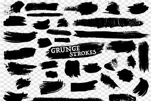 40 Hand Drawn Grunge Strokes Set
