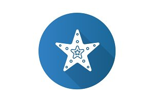 Sea star flat design long shadow glyph icon