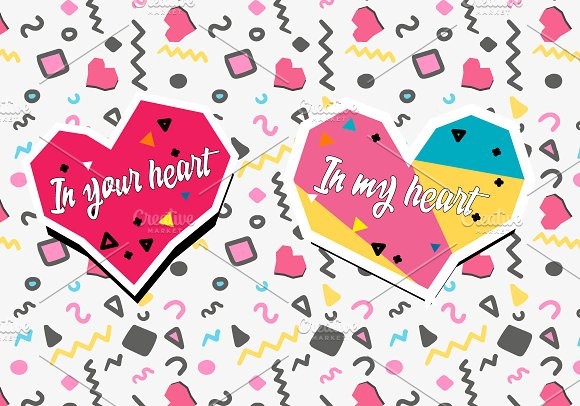 Hand Drawn Memphis Colourful Hearts