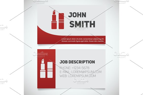 Business Card Print Template With Lipstick Logo