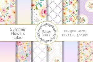 Lilac Summer Floral Digital Paper