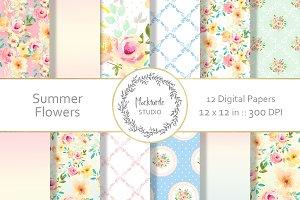Summer Floral Digital Paper