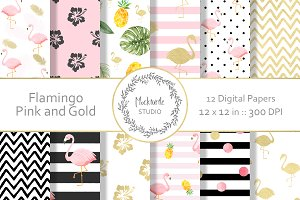Pink and Gold Flamingo Digital Paper