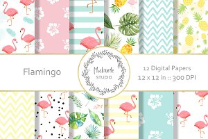 Flamingo digital paper Tropical