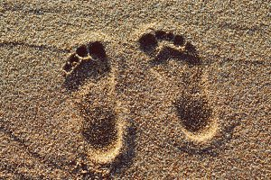 Footprints in beach sand