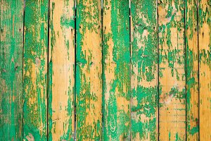 Old green wooden fence texture