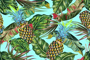 Pineapples,tropical leaves pattern