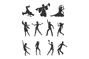 Set of Dancing Peoples Flat Vector Illustrations