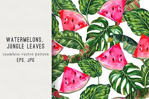 Watermelons,jungle leaves pattern