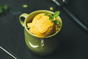 Mango sorbet ice cream scoops