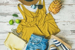 Summer fashion outfit flat-lay