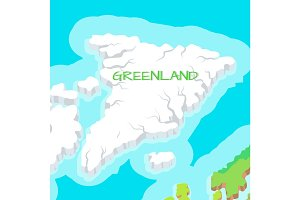 Isometric Map of Greenland Detailed Illustration.