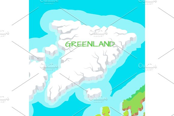 Isometric Map Of Greenland Detailed Illustration