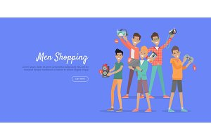 Man Shopping Conceptual Flat Vector Web Banner
