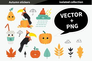 Autumn stickers. Vector + PNG