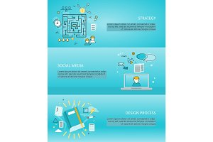 Set of Creative Process and Share Vector Banners.
