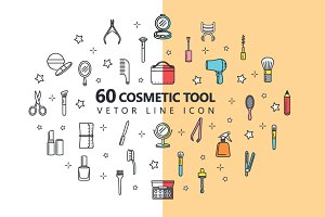60  Line Icon Cosmetic Tools
